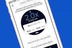 UBER 加成計費的應用程式畫面。
